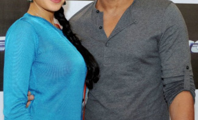 Bollywood actors John Abraham and Jacqueline Fernandez promote their new film Race 2 in Ahmedabad ..