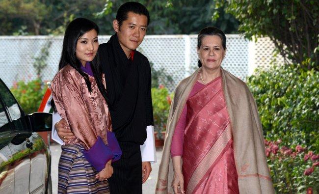 King of Bhutan, Jigme Khesar Namgyel Wangchuk (C) and Bhutanese Queen Jetsun Pema Wangchuck....