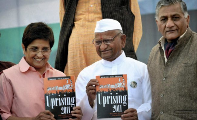 Anna Hazare releases the book \'Uprising 2011\'