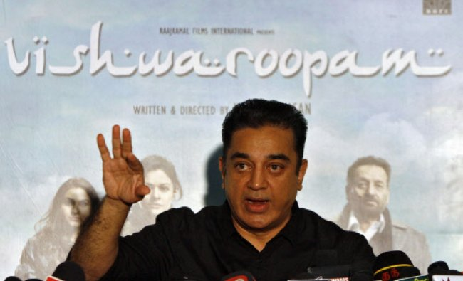 Kamal Haasan speaks with the media during a news conference
