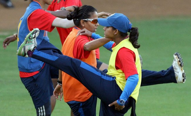 Indian Women\'s cricket team during a practice session in Mumbai on Wednesday. PTI Photo