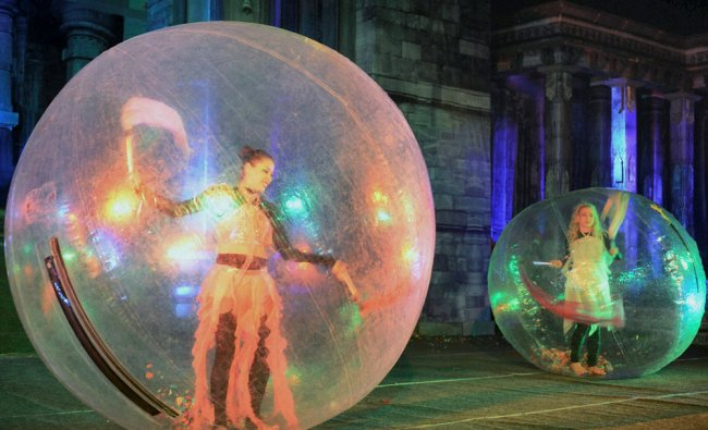 Artists from Mexico perform \'Bubble Dance\' during Lokrang 2013 in Bhopal on Tuesday evening...