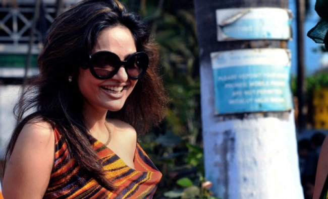 Indian Bollywood film actress Madhu Shah poses during the \'Hello! Classic Derby Race 2013\'....