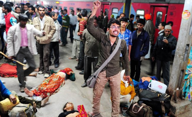 A man denounces the police as the cause of the stampede that killed one of his relative at the...