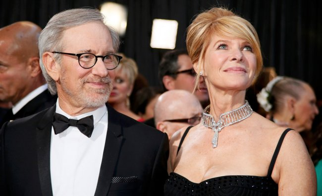 Director Steven Spielberg, best director nominee for his film \'Lincoln,\' and his wife Kate Capshaw..
