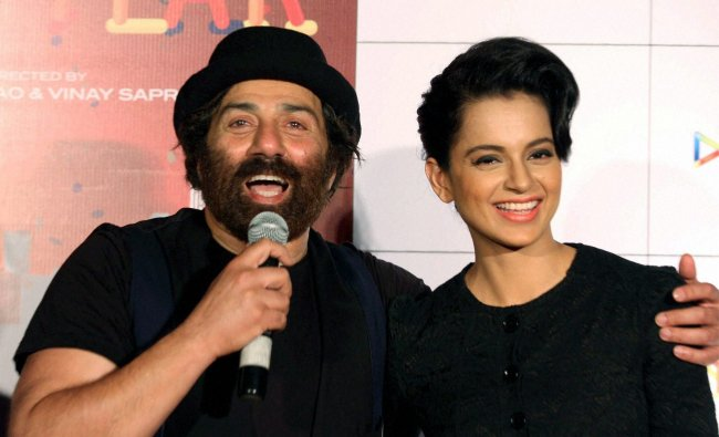 Sunny Deol and Kangna Ranaut during the theatrical launch of their latest movie \'I Love NY ...