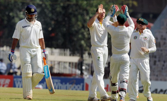 James Pattinson celebrating along with teammates after dismissing India\'s Skipper MS Dhoni ...