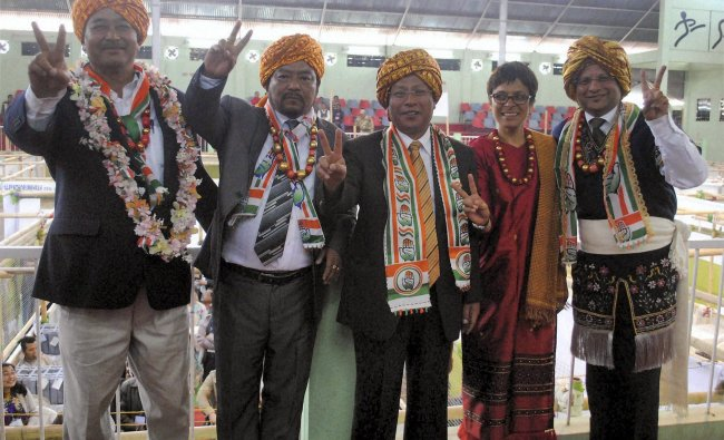 Congress candidates after winning the Meghalaya assembly election in Shillong...
