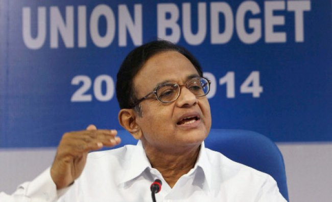 Finance Minister P Chidambaram addressing a post Budget press conference in New Delhi ...