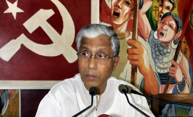 Tripura Chief Minister Manik Sarkar addressing a press conference at party headquarter in Agartala.