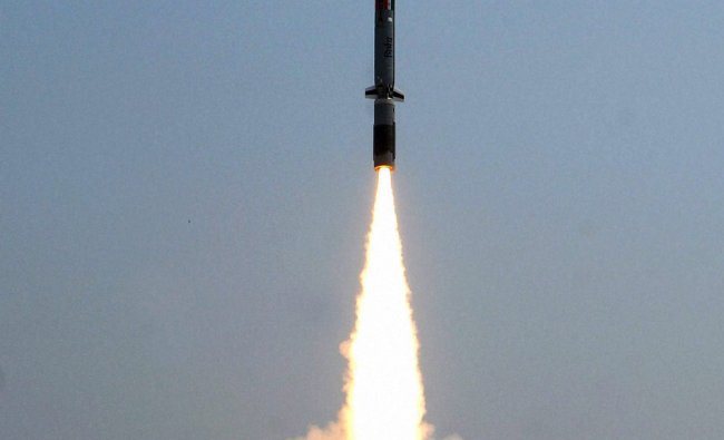 India\'s first indigenously developed sub-sonic cruise missile \'Nirbhay\' being launched ...