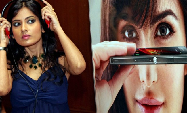 A model poses during the launch of Sony Xperia Z smartphone in Kolkata ...