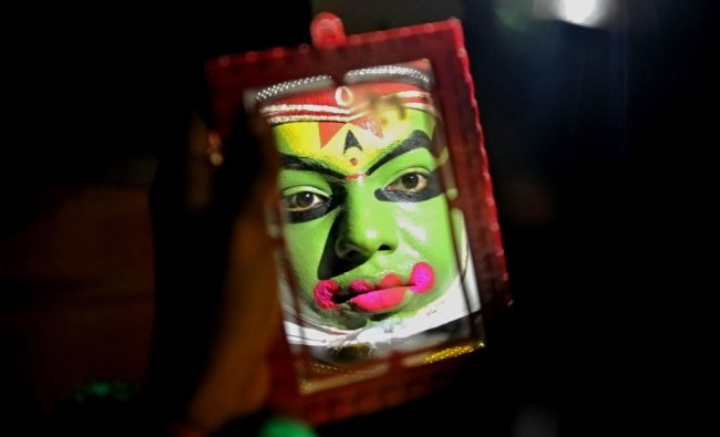 A Kathakali performer before an event organised by Kerala state Tourism Department in Bangalore...