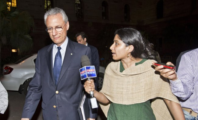 Italian Ambassador to India Daniele Mancini exits the Ministry of External Affairs offices in Delhi