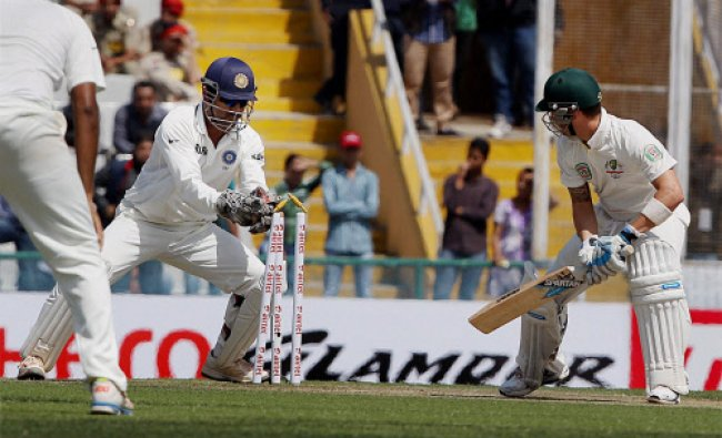 Australian Captain Michael Clarke is bowled outduring the second day of 3rd cricket test match...