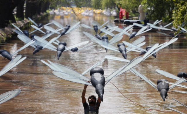 A man adjusts a model of a dragonfly installation over a canal in Lahore March 14, 2013...