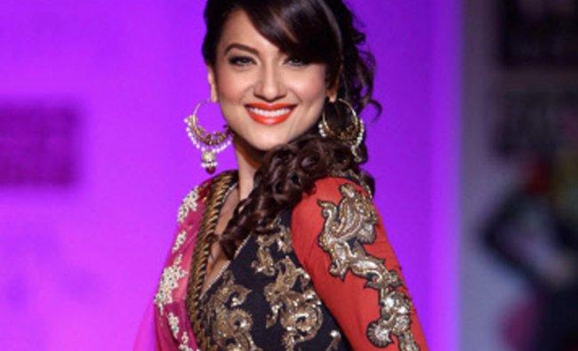 Bollywood actress Gauhar Khan display creations of designerJoy Mitra ...