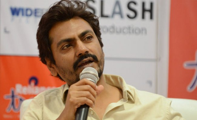 Bollywood actor Nawazuddin Siddiqui talks during a promotional event for the forthcoming fim Aatma
