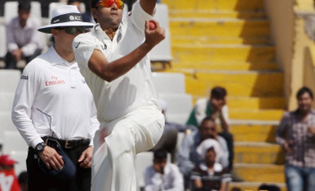 R Ashwin bowls during the second day of the 3rd Test match against Australia ...