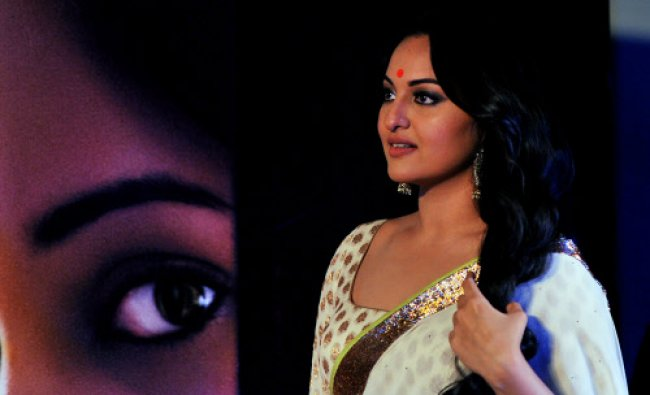 Bollywood actress Sonakshi Sinha looks on during the launch of the upcoming Hindi film...