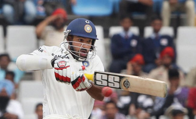India\'s S Dhwan plays a shot during the third day of the 3rd Test match against Australia in Mohali.
