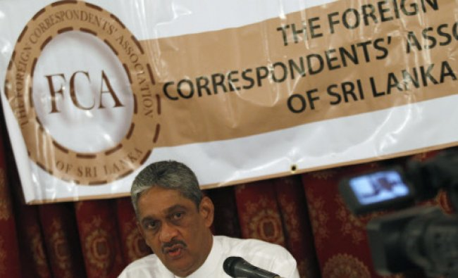 Former army chief of Srilanka,Sarath Fonseka speaks during a Foreign....