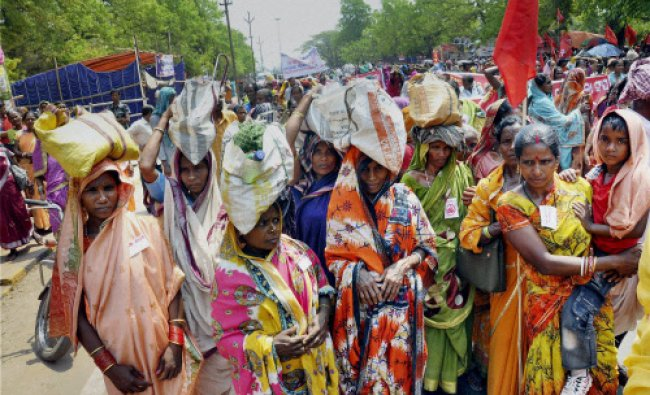 Mid-day meal workers during a protest infront of Odisha assembly in Bhubaneswar on Friday.