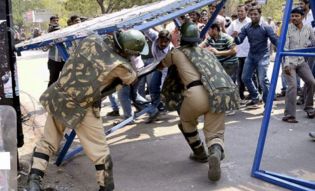 Clash between students and police during a demonstration at Osmania University demanding Telengana..
