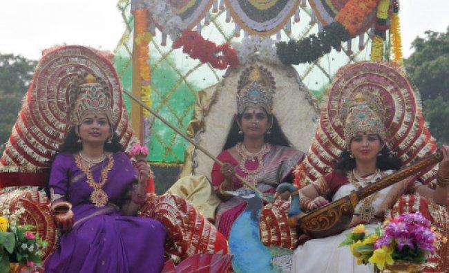 Women dress as goddess during the \'Mahila Sadbhavana Jaata\' on the occassion of International...