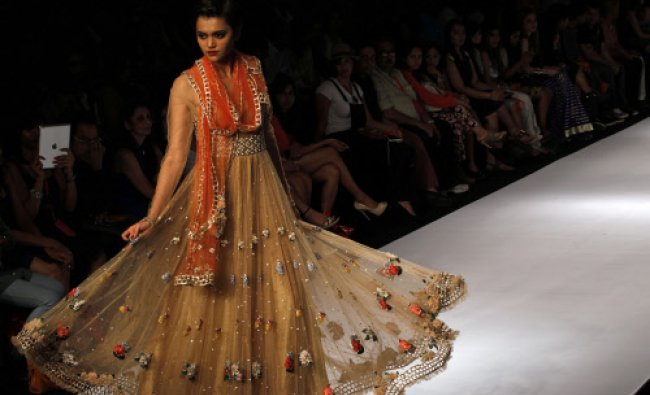 A model displays a creation by Rehane during the Lakme Fashion Week in Mumbai...