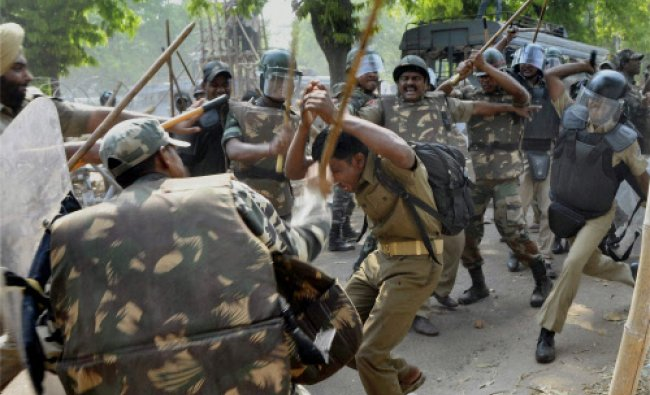 Police lathicharge home guards who were holding a protest in supoort of their demands in...
