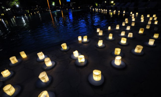 Lanterns are displayed during Earth Hour at a hotel in Nusa dua on the resort island of Bali+