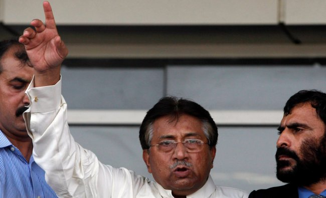 Pakistan\'s former President, Pervez Musharraf, addresses his supporters upon his arrival from Dubai