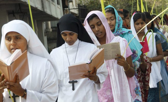 Christian devotees in a Palm Sunday procession in Bhopal...