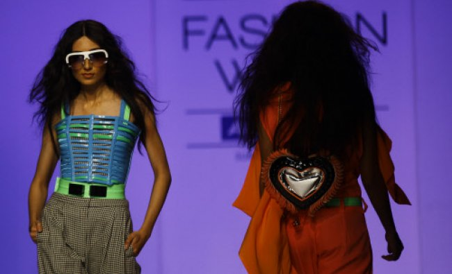 A model displays a creation by Swapnil Shinde during the Lakme Fashion Week in Mumbai...