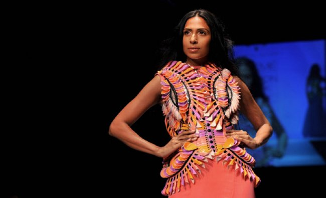 A model showcases a creation by designer Swapnil Shinde during a fashion show on the third day...