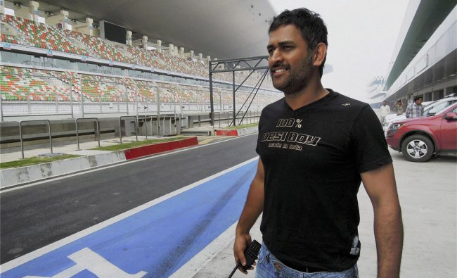 M S Dhoni at Buddh International Circuit in Greater Noida in Uttar Pradesh...