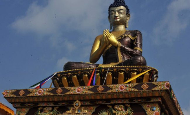 The 130 foot Lord Buddha statue is pictured during the inauguration by Tibetan spiritual leader...