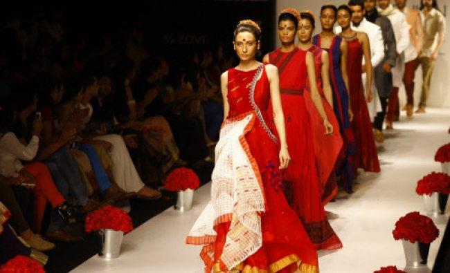 Models display creations by Vaishali S during the Lakme Fashion Week in Mumbai...