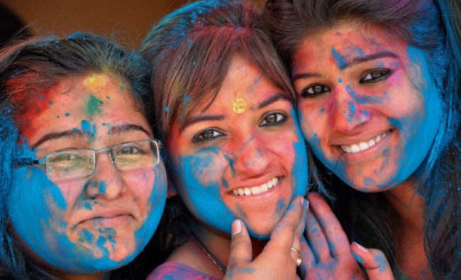 Students play Holi at their collage in Rohtak...