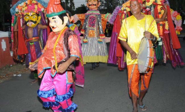 Artistes performing the cultural dance in silver jubilee celebration of south zone cultural...