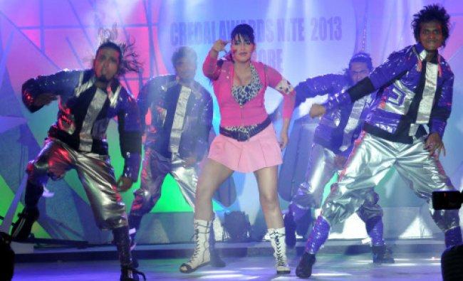 Sandalwood actress Ragini dances to the tunes during CREDAI Nite at Silent Shores in Mysore...
