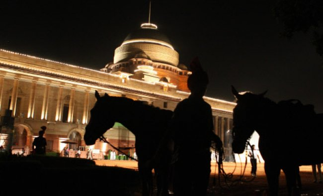 Iluminated President house during a ceremony at the forecourt of Rashtrapati Bhavan in New Delhi...