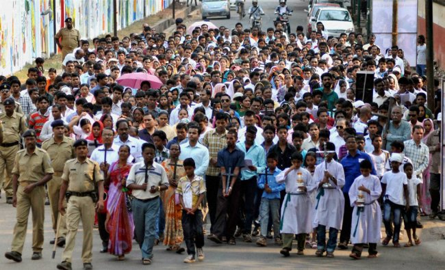 Christian devotees take out a Good Friday rally in Bhubaneswar, Orissa...