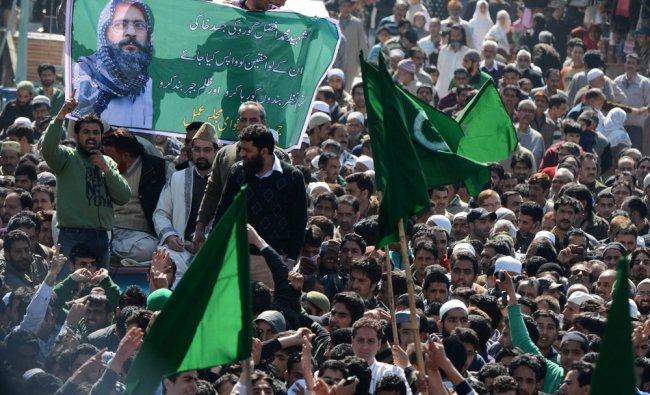 Kashmiri chief priest and seperatist leader Mirwaiz Umar Farooq during a protest rally in Srinagar..
