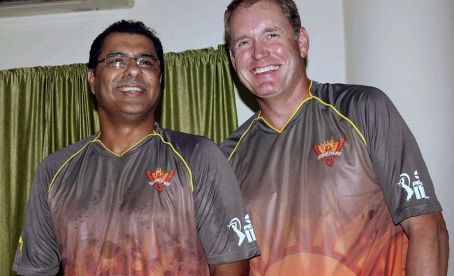 Tom Moody and Waqar Younus, coaches of the Sunrisers Hyderabad IPL team in Secundrabad...