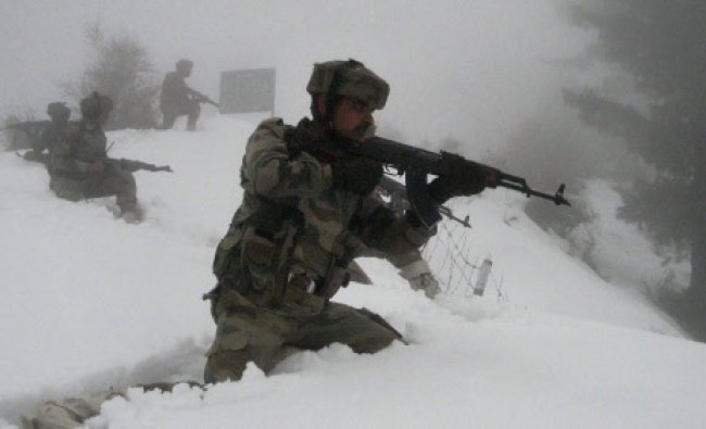 Army soldiers taking position in thick snow bounded areas on the Line of Control in Peer Panchal...