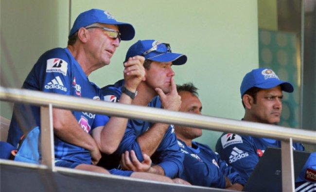 Mumbai Indians coach John Wright Captain Ricky Ponting and Anil Kumble watch the practice match