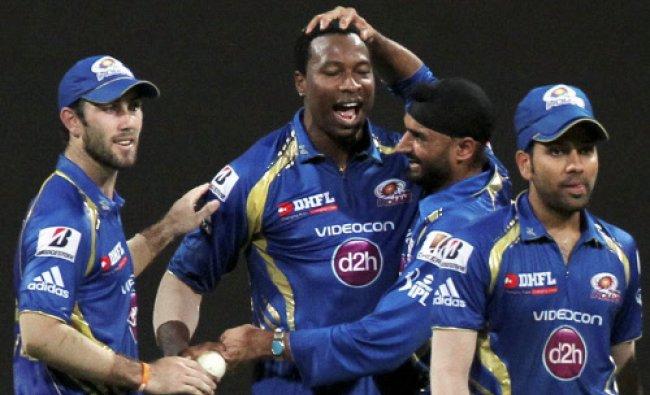 Mumbai Indians celebrate the dismissal of Shane Watson of Rajasthan Royals during an IPL 6 match.