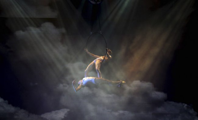Artists perform during for the media preview of the French Cirque Spectacle \'Mana\' in Gurgaon...